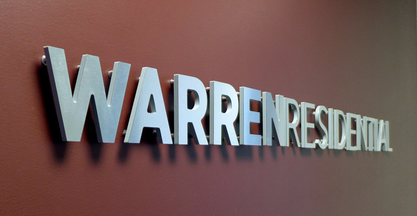 Side View of WarrenResidential Non-Illuminated 3D Letters and Logos