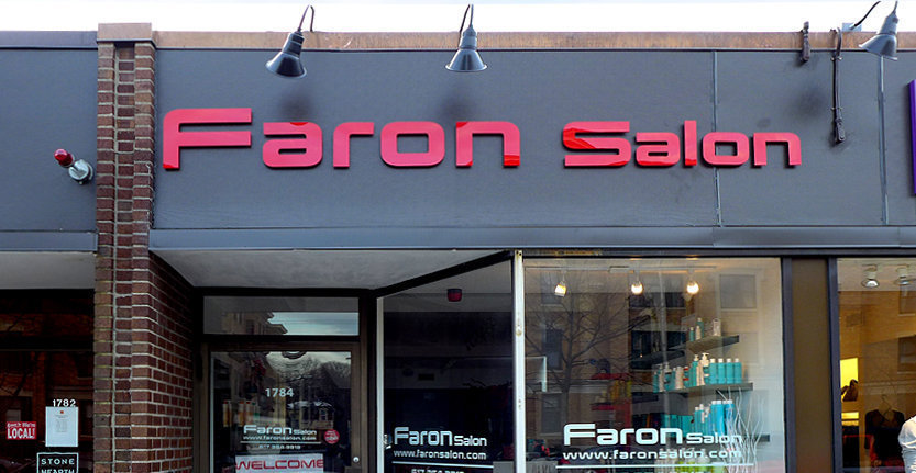 Front View of Faron Salon Storefront 3D Non Illuminated Letters