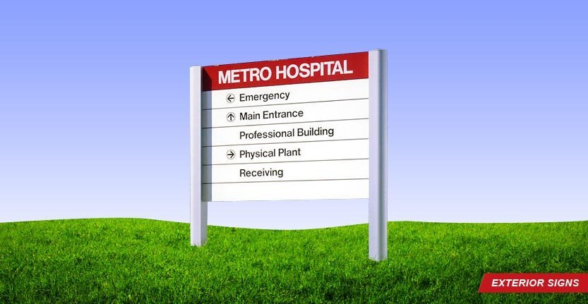 Metro Hospital Exterior Directional Sign