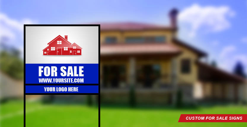 Real Estate For Sale Sign in Blue