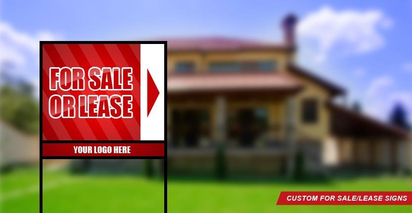 Real Estate For Sale/Lease Sign in Red Color