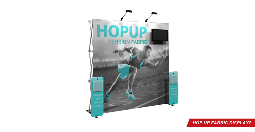 Trade Show Hop Up Fabric Display with Monitor and two stands-off
