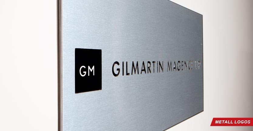 Side View of Gelmartin Magence Metal Lobby Logo