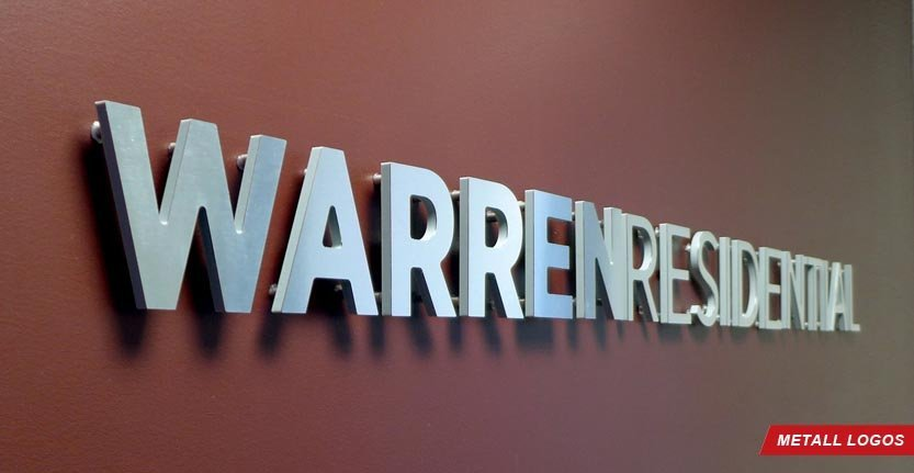 Side View of WarrenResidential Metal Lobby Logo