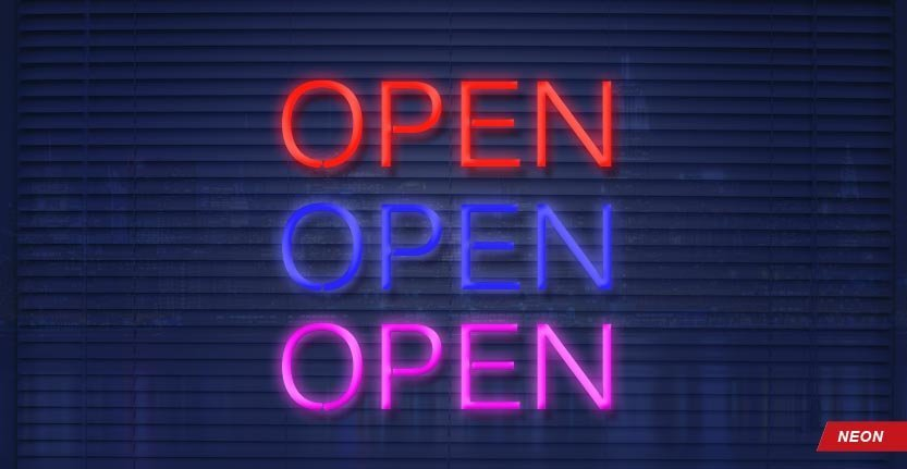 Open Neon Window Sign in Different Colors