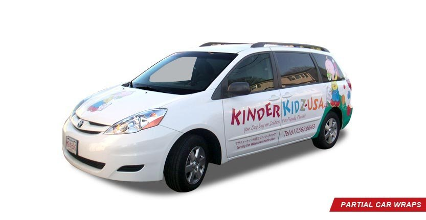 Front Right View of Kinder Kidz USA Partial Car Wrap