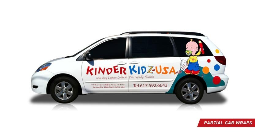 Vehicles Partial Car Wrap of Kinder Kidz USA