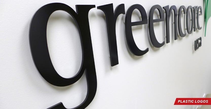 Side View of Greencore Plastic Lobby Logo