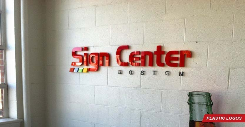 Close View of Sign Center Boston Plastic Lobby Logo