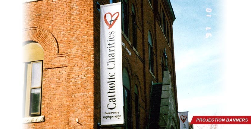 Projection Banner of Catholic Charities