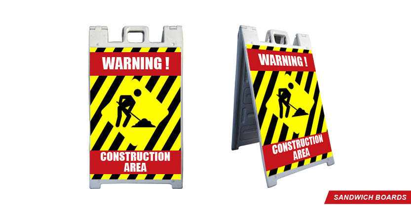 Warning Construction Sandwich Board