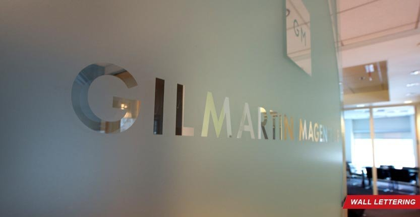 Side View of Gilmartin Magence Lobby Wall Lettering