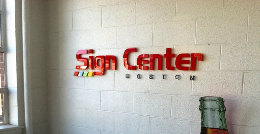 Close View of Sign Center Boston Non-Illuminated 3D Letters and Logos
