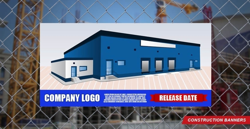 Construction Banner with Your Company Logo in Down Left SIde