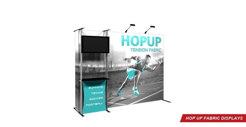 Trade Show Hop Up Fabric Display with Accessory Counter