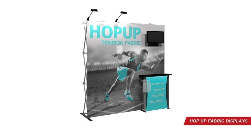 Trade Show Hop Up Fabric Display with Monitor and Stands-off