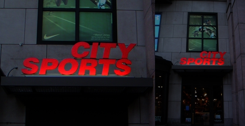 Night View of City Sports Exterior Illuminated Sign