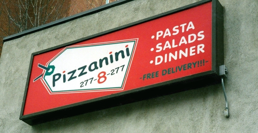 Day View of Pizanni Storefront Light Box