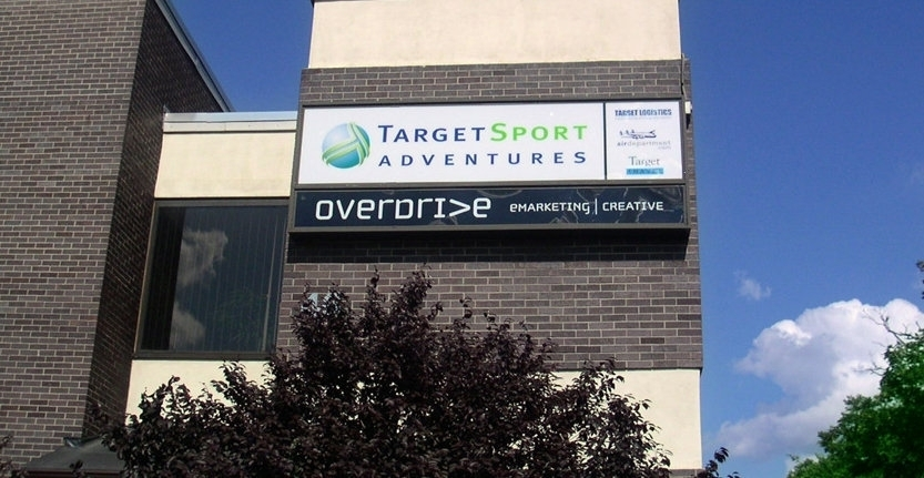 Day View of Target Sport Adventures Storefront Light Box