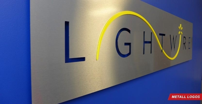 Side View of Lightwire Metal Lobby Logo