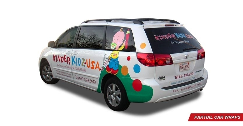 Back Left View of Kinder Kidz USA Partial Car Wrap