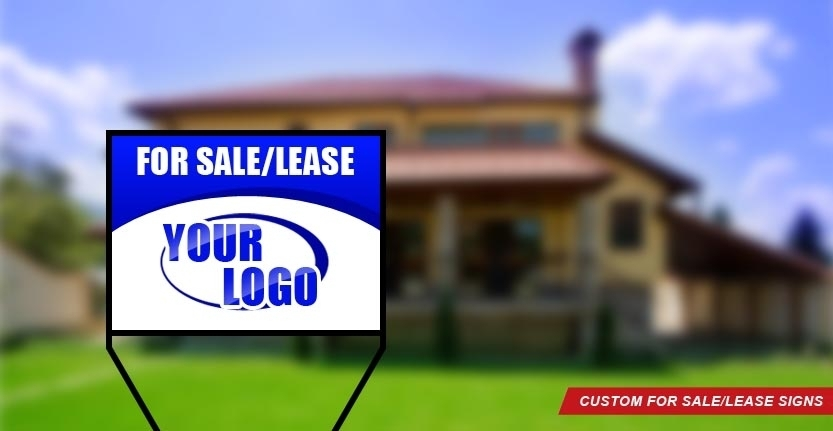 Real Estate For Sale/Lease Sign in Blue Color
