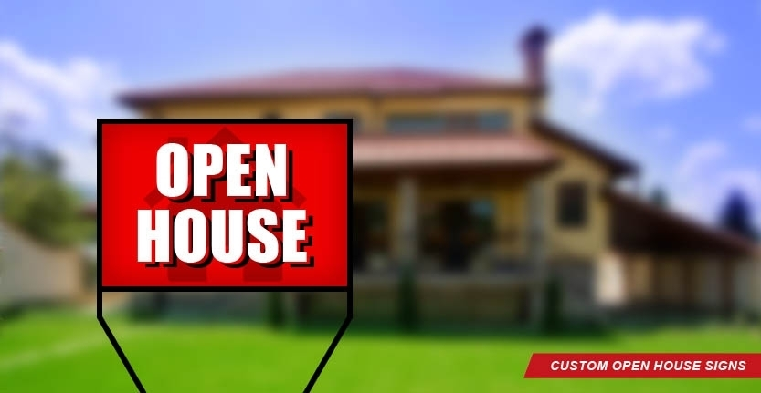 Real Estate Open House Sign in Red Color