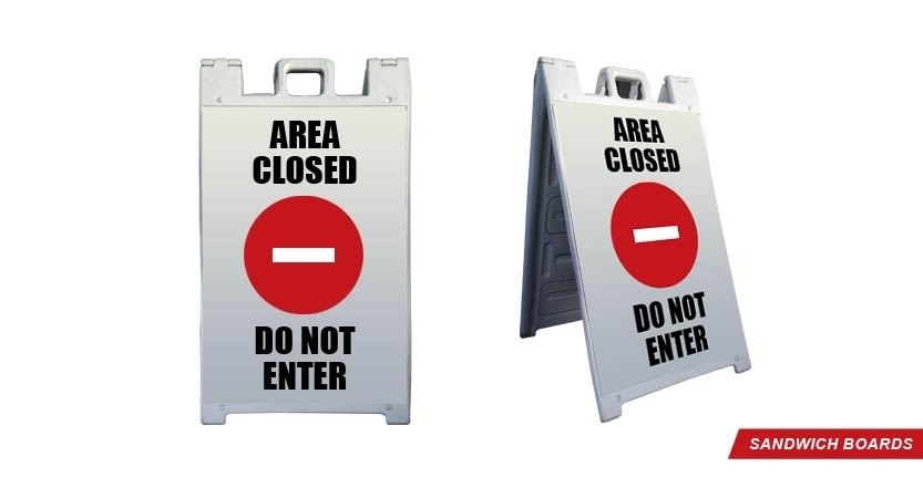 Area Closed Construction Sandwich Board
