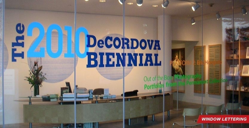 DeCordova Biennial Window Lettering